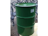 45 Gallon Steel Drums With Lids Fire Burning Bin Garden Incinerator Metal Storage Bin