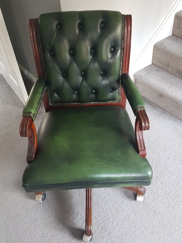 Chesterfield Green Leather Office Chair