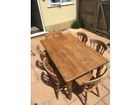 Solid oak dining table & 6 chair set