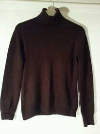 Brown polo neck cashmere jumper