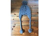 Topshop Grey Pom Pom Woolie Hat / Beanie