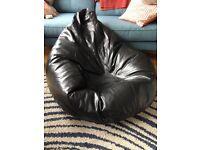 Black leather beanbag