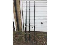 3 x carp rods plus 2 Shakespeare reels