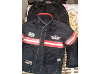 LADIES BIKE TROUSERS AND JACKET.. and HELMET as new!!