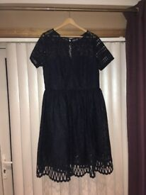 Chi chi London navy occasion dress. Size 18. Worn once- gorgeous dress