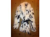 Miss Selfridge faux fur coat size M