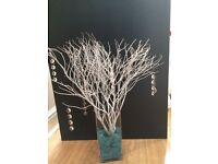 10x Centerpiece Real bushes/trees with sequins - perfect for party's, wedding table decoration