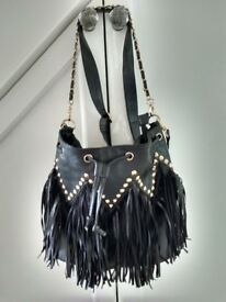 Black Gold Studded Tasselled HandBag ..