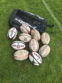 Rugby balls, bag, kicking tee & pump