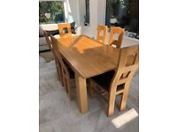 Solid oak dining table and leather chairs - Oak Furniture Land - QUICK SALE NEEDED