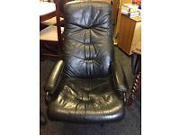 Black leather swivel recliner chair can deliver