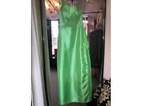 Green- taffeta - long dress