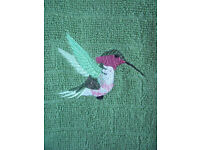 NEW un-used 100% cotton green hand towel, hummingbird motif. Excellent condition. Can post. £2.