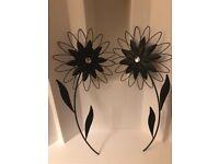Two metal flowers (wall art)
