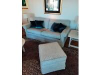 2 Three seater sofa's and footstool