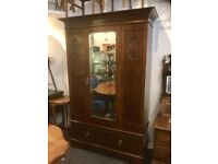 Edwardian solid mahogany single door wardrobe