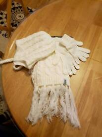 Brand new white gloves, scarf and hat set