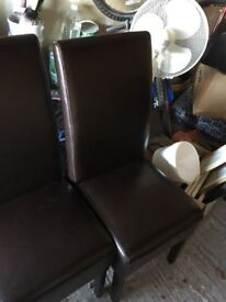 6 faux leather dark brown dining chairs