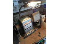 Bench grinder with light