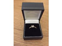 18 ct gold, 1/2 ct diamond princess cut, solitaire engagement ring