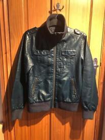 H&M Young Faux Leather Jacket - Petrol Blue - Eur 164