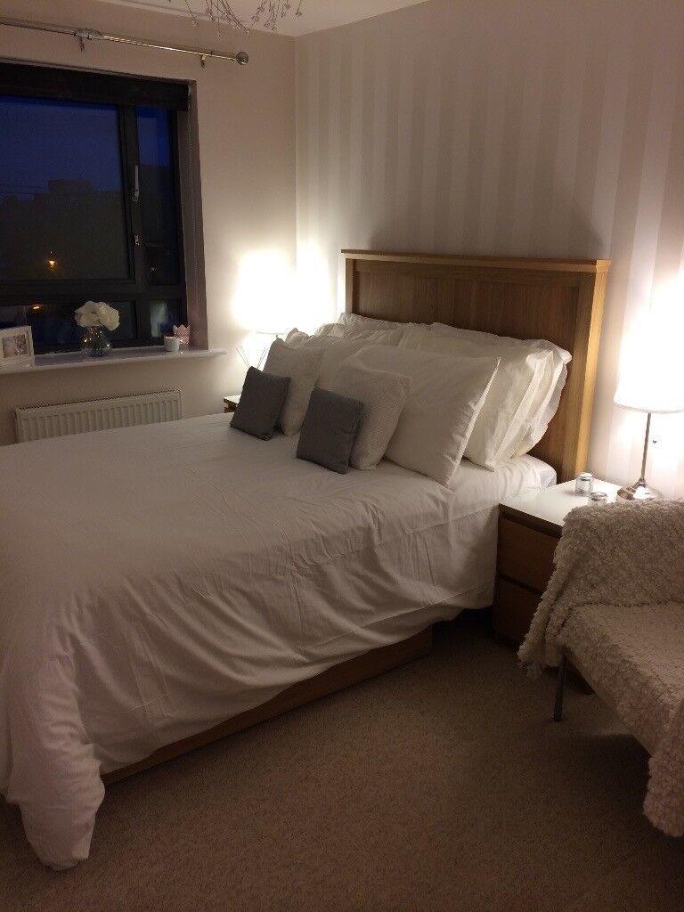 Ikea double bed, next mattress & 2 storage draws