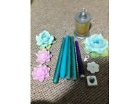 Candle flowers (no candle sticks) incense bundle job lot blue purple (candle sticks not included)