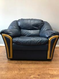Navy Blue 1 Single Seater Leather Sofa (Used)