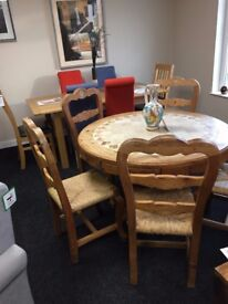 Beautiful Solid Pine Tile Table and Five Chairs...Offers invited!