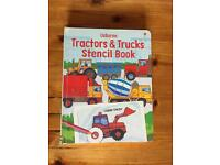 Tractors and trucks stencil book