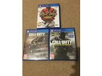 Street fighter V and call of duty ps4 games