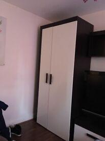 Wardrobe shiney white x brown colour ikea