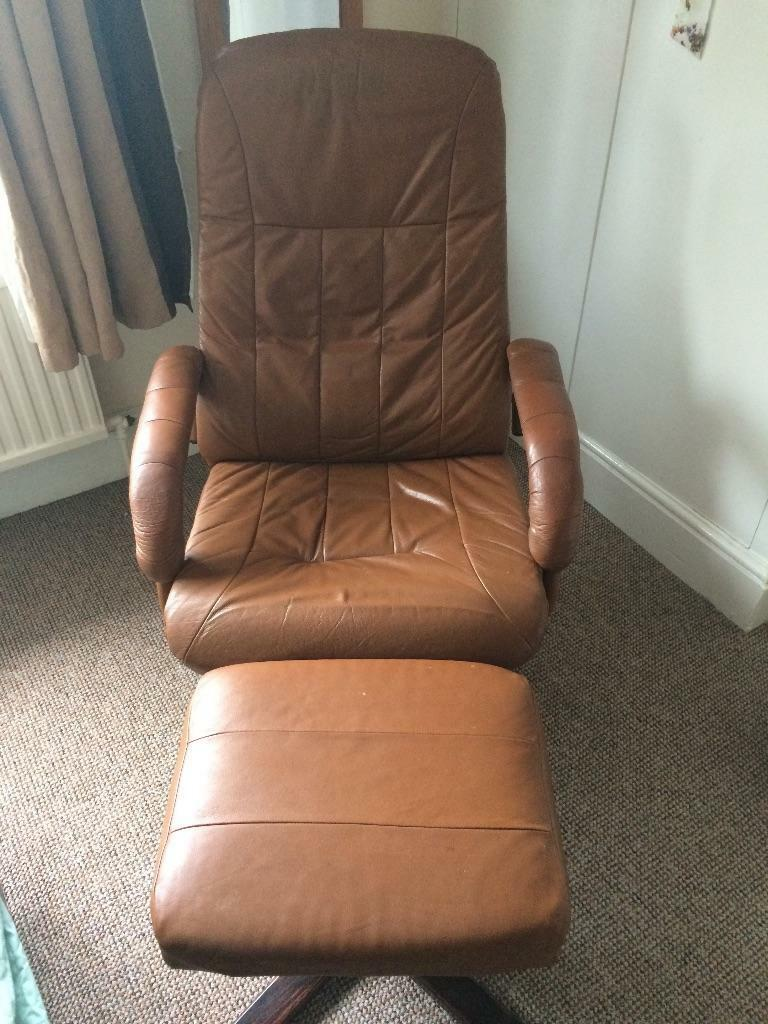 Faux leather chair and stool. : in Exeter, Devon : Gumtree