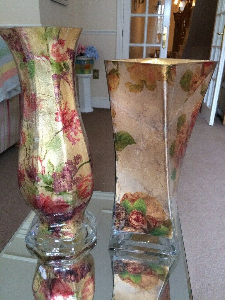 Pair of decorative glass vases