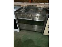 A++ Class Stainless Steel Tecnik 90 cm 5 Burners Gas Range Cooker With Double Oven
