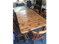 Solid Pine Dining Table (extends) & 6 chairs. Well lived in!