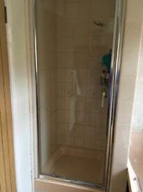 Shower glass door with chrome frame