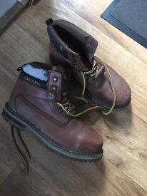 Dickies brown leather boots size 9
