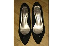 Black suede heels m & s collection wider fit size 3 1/2