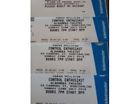 3 x Sara Milligan tickets Alhambra Dunfermline 22nd July at face value