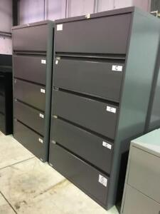 5 Drawer Lateral Filing Cabinets - Charcoal - $299