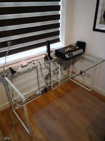 Habitat large toughened clear glass desk 160cm(w) X 80cm(d) with metal legs (72cm high)
