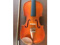 3/4 violin, with hard case, and music