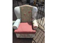 Fun recovered wing armchair, some fabric Laura Ashley, turned legs with casters, shabby chic
