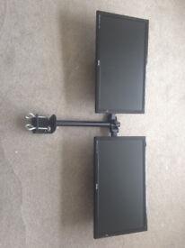 2 x 1080p BenQ monitors + arm mounts and bracket