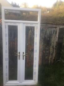 PVC French doors white