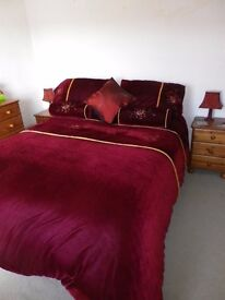 Luxury Deep Red Bed Set and Curtains.