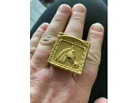 Fab Heavy GP Horse Head Patterned Ring Size X, 46.13g, WILLING TO POST
