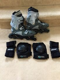 PTX Runner Light Grey Skates Ozbozz Kids UK size 4/5 plus O2 Knee pads & Bauer Elbow Pads