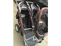 T3 lots of babies triple pushchair can convert to double pushchair
